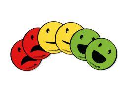Mágneses emotikonok (smiley), válogatás, 50 mm, 5 db