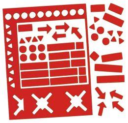 Válogatott mágneses szimbólumok, 20 mm, piros