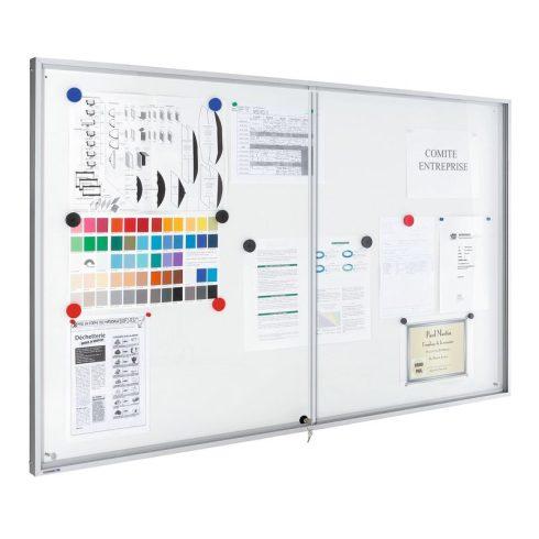 Legamaster Premium beltéri fali vitrin és fehér tábla (whiteboard) egyben (tolóajtóval) 65,3x131,9 c